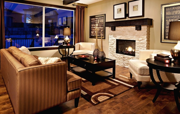 Picture color, design, style, table, room, sofa, fire, furniture, interior, pillow, window, fireplace, gold, brown, bronze