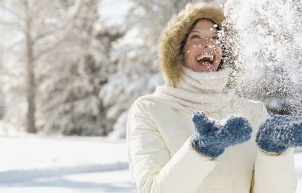 Picture winter, girl, snow, joy, snowflakes, nature, smile, mood, laughter, hands, gloves
