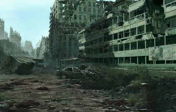 Picture the city, devastation, ruins, postapokalipsis