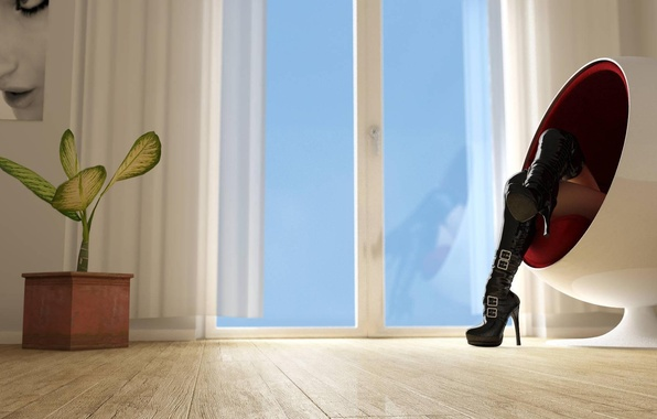 Picture photo, feet, plant, Girl, the door, window