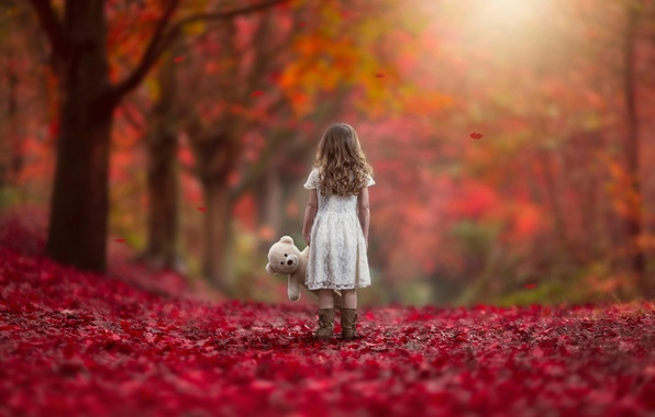 Picture autumn, leaves, toy, girl, Never Alone