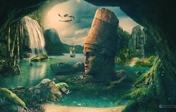 Picture sea, rocks, shore, ship, skull, snake, lizard, emblem, chest, desktopography