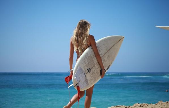 Picture sea, summer, girl, water skateboard