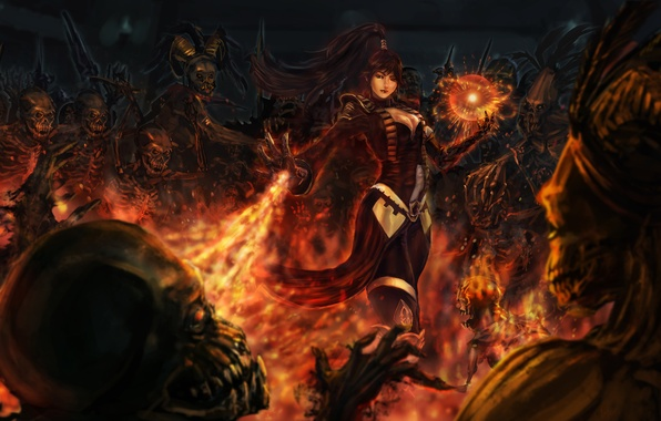 Picture girl, flame, magic, sphere, undead, the enchantress, Diablo, Wizard