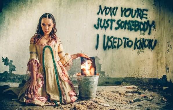 Picture girl, wall, fire, the inscription, photo, dress, bucket