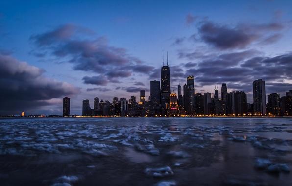 Picture the sky, clouds, lake, Chicago, twilight, Il, frozen, lake Michigan, Franklin Center, The John Hancock …