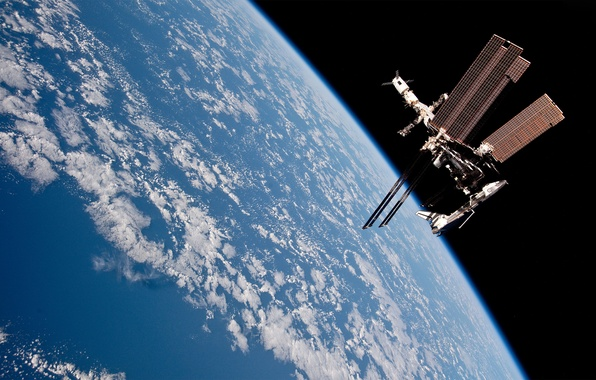 Picture clouds, Earth, ISS, progress