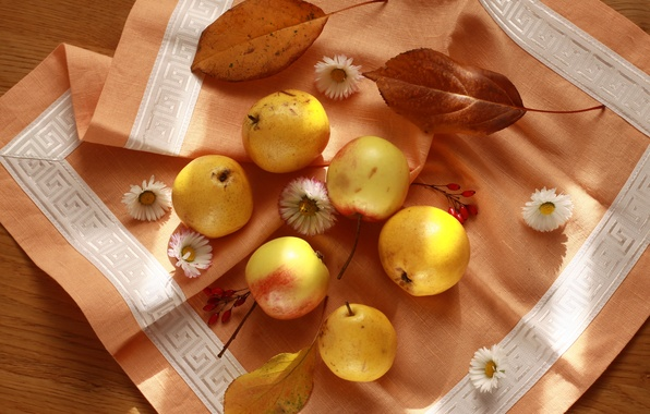 Photo wallpaper autumn, apples, beautiful, fruit, still life, pear, napkin