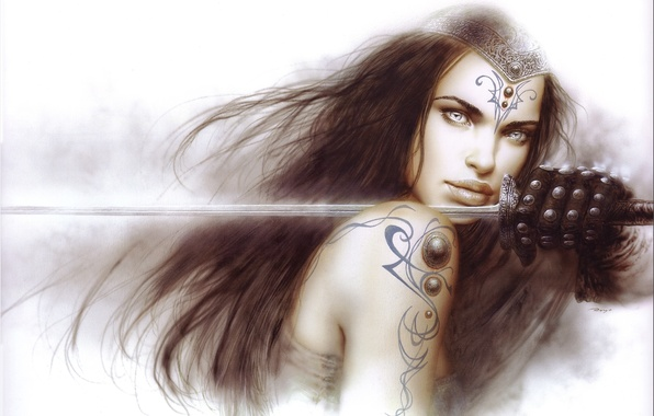 Picture girl, weapons, sword, warrior, art, Luis Royo