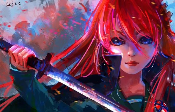 Picture girl, weapons, katana, anime, art, pendant, shakugan no shana, shana, xi chen chen