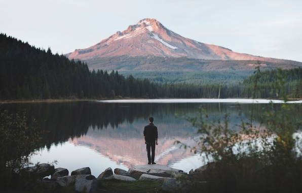 Picture lake, view, mountain, the man