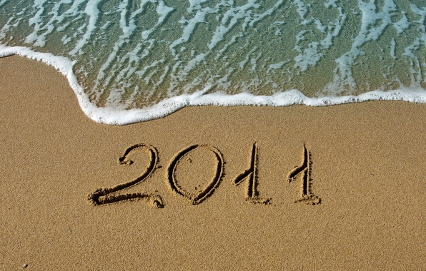 Picture sand, sea, water, macro, the ocean, shore, new year, figures, figure, beaches, 2011