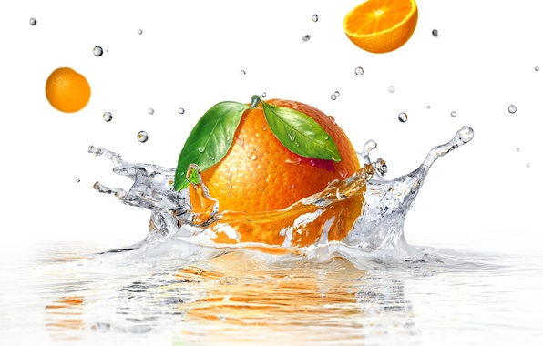 Picture water, squirt, orange, white background, water, orange, white background, sprays