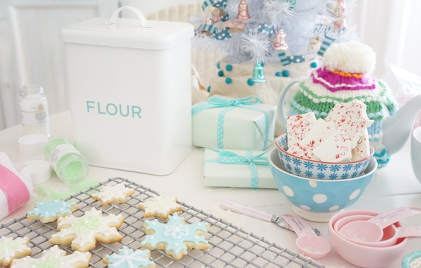 Picture table, tree, food, New Year, cookies, Christmas, gifts, christmas, Christmas, hat, food, cakes, holidays, box, …