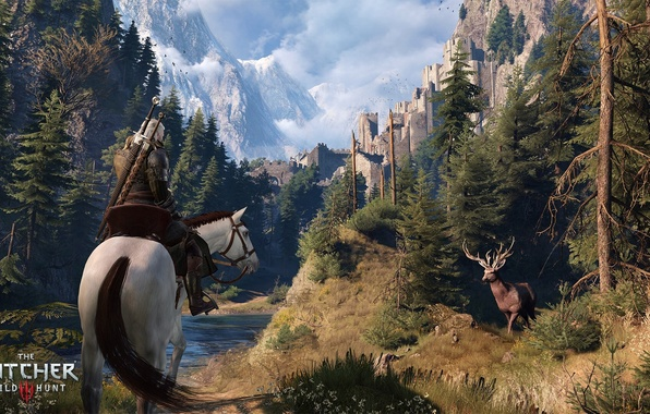 Picture forest, trees, river, horse, deer, fortress, Geralt of Rivia, top, The Witcher 3: Wild Hunt, …