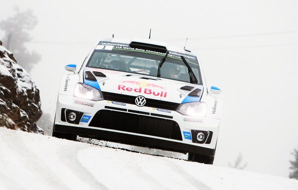 Picture Winter, Auto, White, Snow, Volkswagen, Speed, Logo, Red Bull, WRC, Rally, The front, Polo