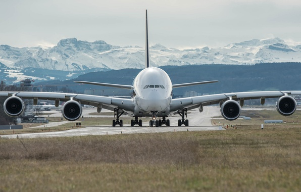Picture the plane, jet, passenger, widebody, double deck, Airbus A380, four-engined