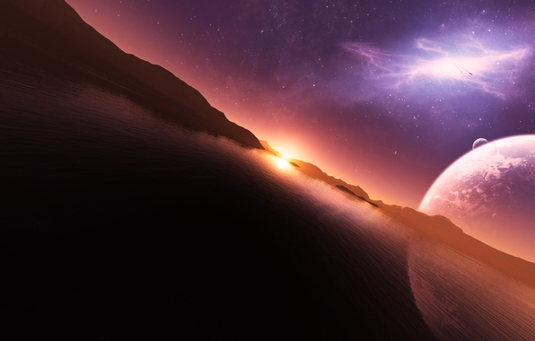 Picture the sky, water, the sun, stars, sunset, mountains, reflection, planet, art, jkelly26