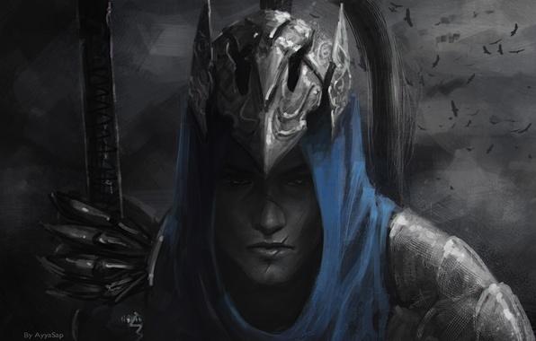 Picture blue, helmet, guy, scar, armor, monochrome, ARTORIOUS