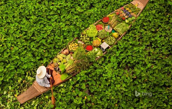 Picture leaves, water, boat, Thailand, fruit, Bangkok, vegetables, floating market