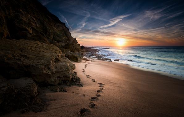 Picture sea, wave, beach, clouds, the way, sunrise, rocks, stone, track, horizon