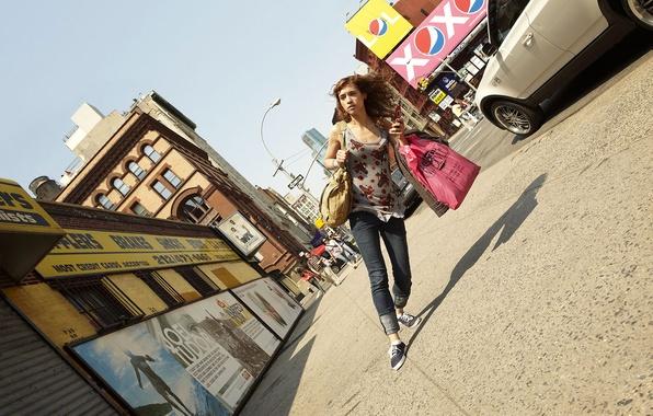 Picture girl, creative, street, humor, distortion, tilt, bags, romain laurent, novel Lauren, pedestrian