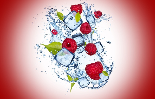 Picture ice, water, drops, raspberry, ice, water, drops, raspberry, cherry background, cherry background