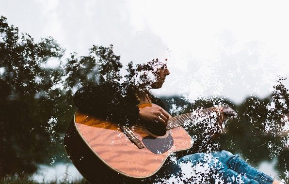 Picture music, guitar, trees, branches, musician