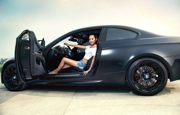 Picture girl, BMW, brunette, shorts, topic, Asian, Bmw m3