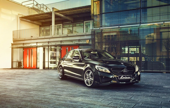 Picture Mercedes-Benz, City, Car, Auto, Front, Black, Germany, Lorinser, S-Classe