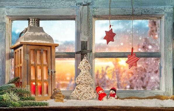 Picture window, lantern, stars, herringbone, decoration