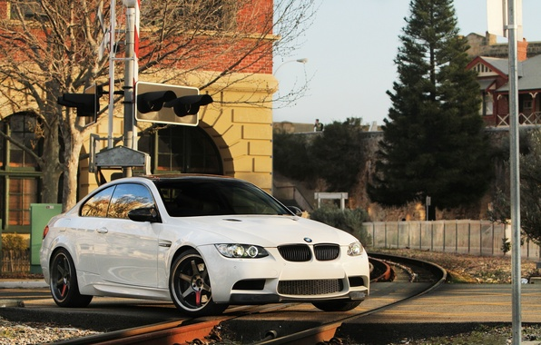 Picture white, the sky, trees, black, building, bmw, BMW, coupe, traffic light, railroad, wheels, drives, black, …