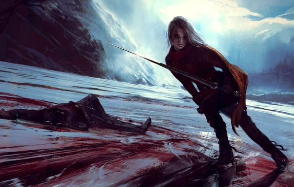Picture ice, girl, mountains, rocks, blood, sword, skates