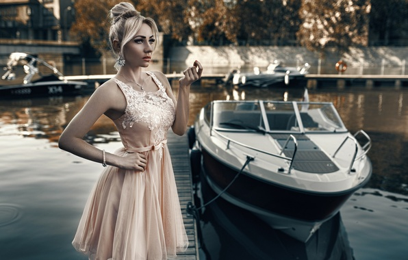 Picture girl, style, model, dress, boat