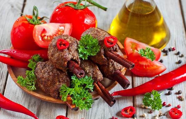 Picture greens, oil, pepper, cinnamon, tomatoes, Kebab