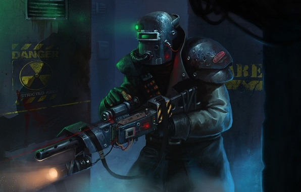 Picture lights, dark, gun, soldier, armor, fear, mystery, modified welding helmet