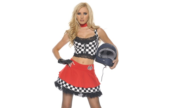 Picture Girl, Blonde, Face, Helmet, Background, Form, Standing, Tiffany Toth, Racer