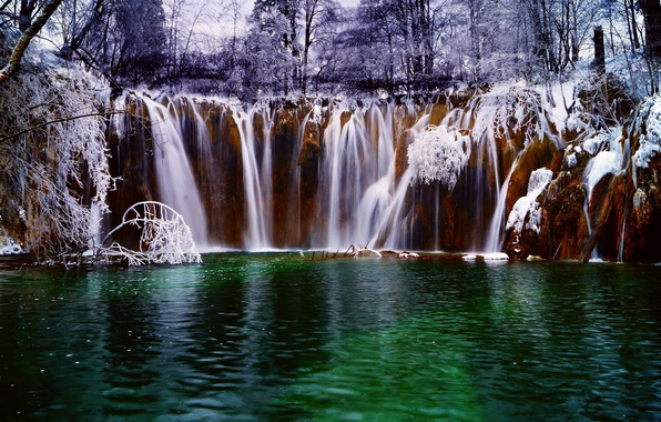 Picture winter, forest, snow, lake, river, waterfall, stream, Croatia, Croatia