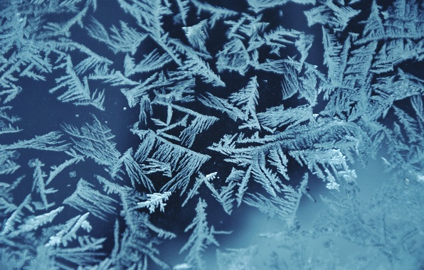 Picture glass, snowflakes, pattern, ice, Snow, frost, the pattern on the window