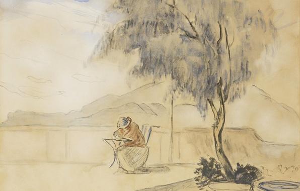Picture landscape, mountains, tree, figure, watercolor, Henri Lebacq, On the terrace