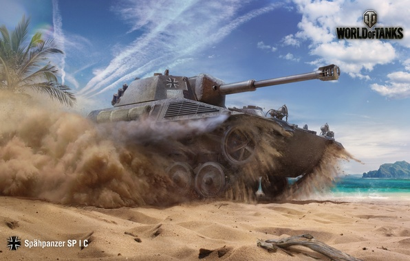 Picture The sky, Water, Sand, Clouds, Mountains, Dust, Palm trees, WoT, World of Tanks, World Of …