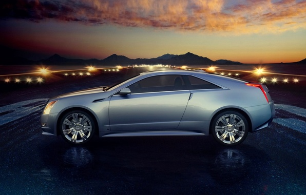 Picture the sky, Cadillac, Sunset, The evening, Wheel, Machine, Cadillac, CTS, Side view
