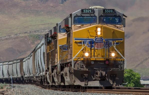 Picture rails, train, cars, railroad, locomotive