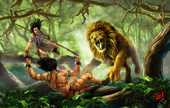 Picture forest, predator, Leo, jungle, art, hunting, knives, forest, hunters, art, lion, spears, wild, wild, Evren-ince, …
