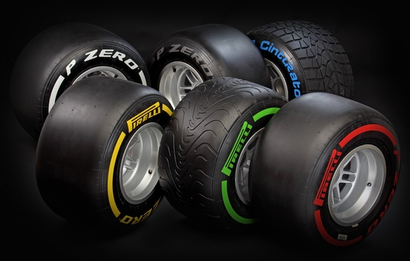 Picture formula 1, different, tires, types of tires