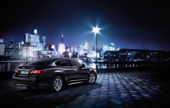 Picture machine, light, night, the city, building, Infiniti, car, Hybrid, M35h, Business Edition