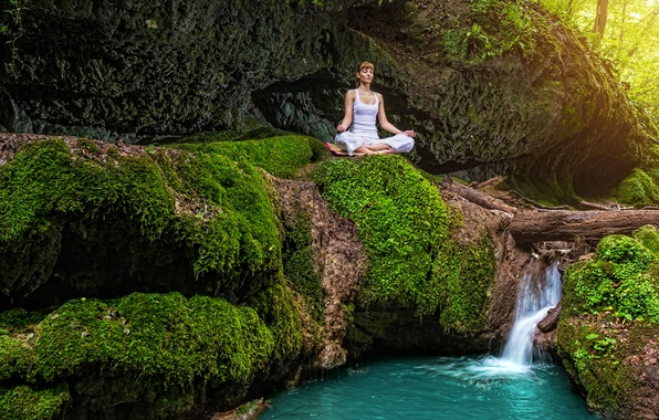 Picture forest, summer, girl, stream, stones, waterfall, moss, meditation, yoga, in white, nature, the Lotus position