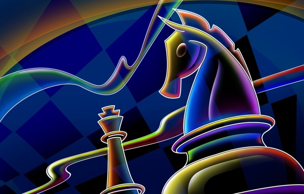 Picture line, blue, horse, chess, cells, 2014