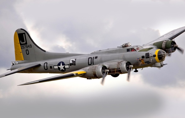 Picture the sky, clouds, flight, bomber, B-17, Flying fortress, Flying Fortress