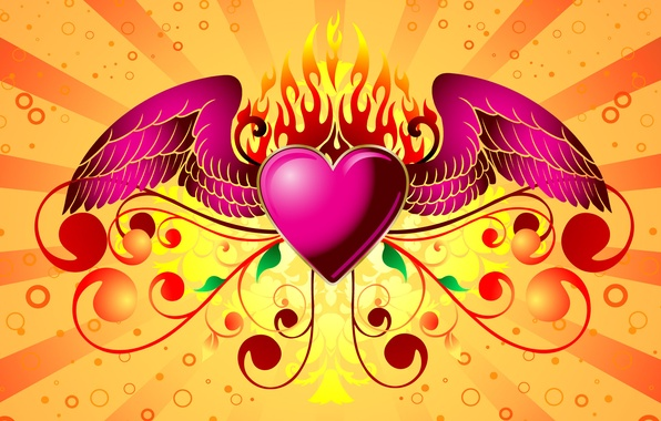 Picture love, background, fire, heart, wings, Valentine's day, heart, valentines day